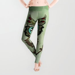 Cute  owl, green diamond Leggings