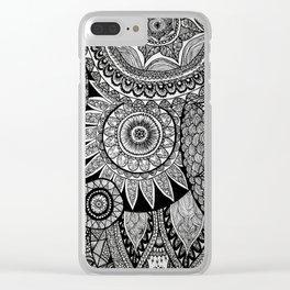 Black Graphic Mandala Pattern Clear iPhone Case