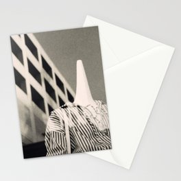 Store mannequins with parking structure reflection Stationery Cards