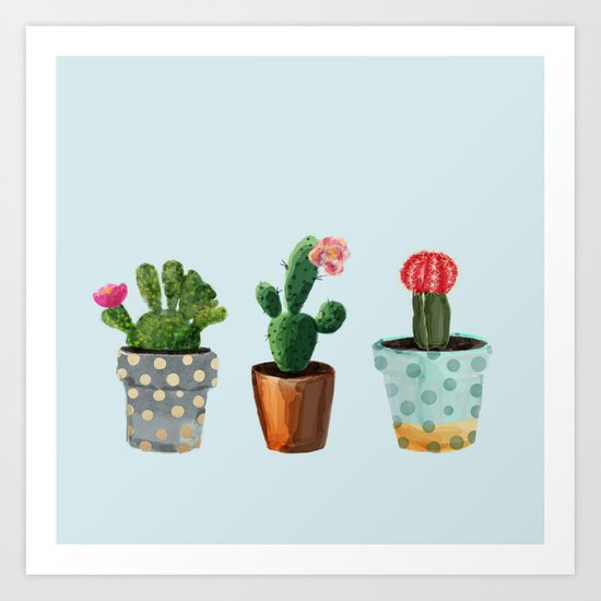 Three Cacti With Flowers On Light Blue Background Art Print