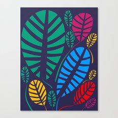 Jungle Night Pattern Floral Decoration Canvas Print
