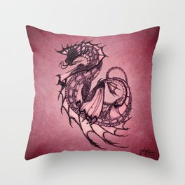 """Tsunami"" by Amber Marine ~ Sea Dragon (Ruby Version) ~ Graphite Illustration, (Copyright 2005) Throw Pillow"