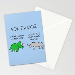 404 Error (Triceratops and Rhino) Stationery Cards