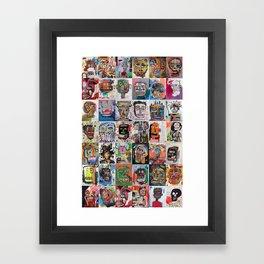 Basquiat Faces Montage Framed Art Print