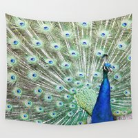 peacock Wall Tapestries featuring Peacock by Kakel-photography