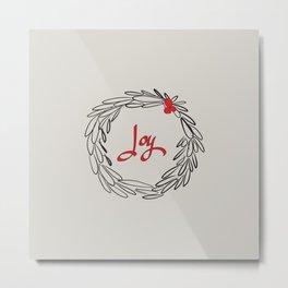 Joy Wreath - Gray Metal Print