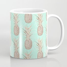 Golden and mint pineapples pattern Coffee Mug