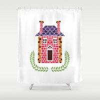 home sweet home Shower Curtains featuring Home Sweet Home by haidishabrina