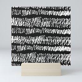 Contemporary White Scribble Pattern On Elegant Black Background Mini Art Print