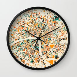 London Mosaic Map #4 Wall Clock