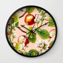 White apple blossoms and apples Wall Clock