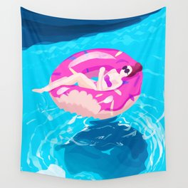 Chilling in the pool Wall Tapestry