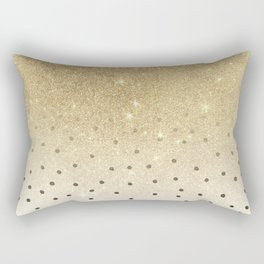 Black white polka dots gold glitter ombre Rectangular Pillow