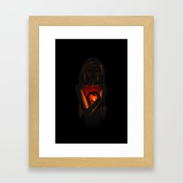 Beautiful Woman With Glowing Healing Heart Framed Art Print
