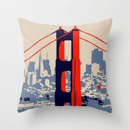 Golden gate bridge vector art Throw Pillow