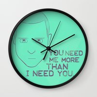 jesse pinkman Wall Clocks featuring Breaking Bad - Faces - Jesse Pinkman by eshwar - Emilio Cassanese