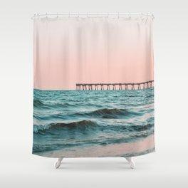 Beach Pier Sunrise Shower Curtain