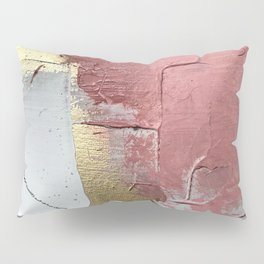 Darling: a minimal, abstract mixed-media piece in pink, white, and gold by Alyssa Hamilton Art Pillow Sham