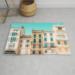 Cannes City Architecture, French Riviera Summer Travel, Pastel Colors, Colorful Buildings Facade, Orange And Teal Rug