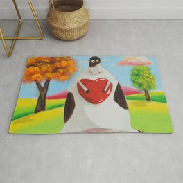 Cute cow with a heart Rug
