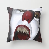 pennywise Throw Pillows featuring Pennywise by Kristen Champion