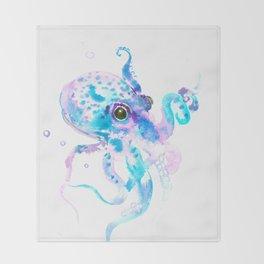 Sky Blue Soft Pink Turquoise Violet Octopus, teal animal beach art Throw Blanket