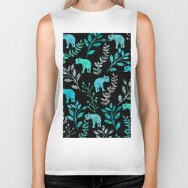 Watercolor Flowers & Elephants IV Biker Tank