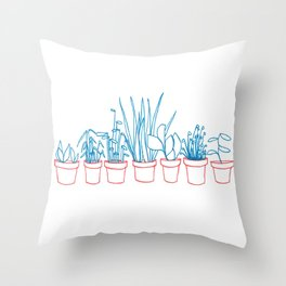 Teal Plants in Red Pots Throw Pillow