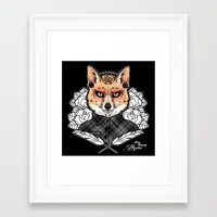 mr fox Framed Art Prints featuring Mr Fox by Miss Cherry Martini
