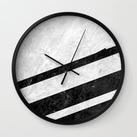 White Striped Marble Wall Clock
