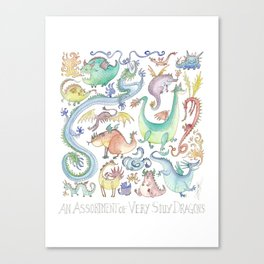 An Assortment of Silly Dragons Canvas Print