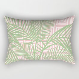Retro Tropical Palm Trees and Geometric Square Pattern in Modern Pink and Green Rectangular Pillow