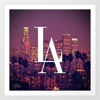 dodgers Art Prints featuring Downtown LA Vintage Skyline Typography by RexLambo