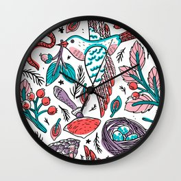 leaf pattern, autumn leaves, tropical leaves pattern, tropical leaves, acnh flower pattern, flower crochet pattern Wall Clock