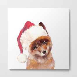 Christmas Baby Fox Metal Print