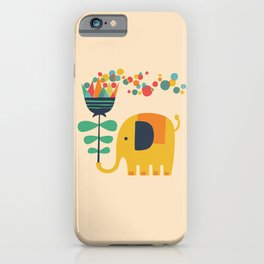 Elephant with giant flower iPhone Case