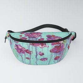 Abstract Blue and Pink Flower Painting Fanny Pack