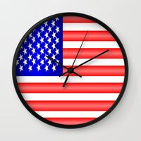 american flag Wall Clocks featuring American Flag by Justbyjulie