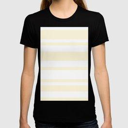 Mixed Horizontal Stripes - White and Cornsilk Yellow T-shirt
