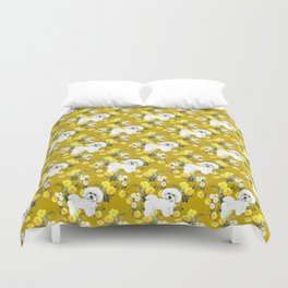 Bichon Frise on Yellow Rose Floral Autumn Gold Duvet Cover