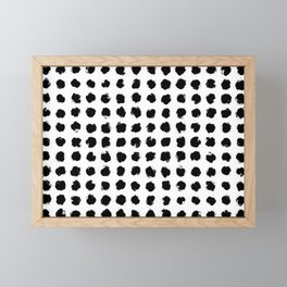 Black and White Minimal Minimalistic Polka Dots Brush Strokes Painting Framed Mini Art Print