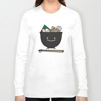 ramen Long Sleeve T-shirts featuring Happy Ramen Bowl by Berenice Limon