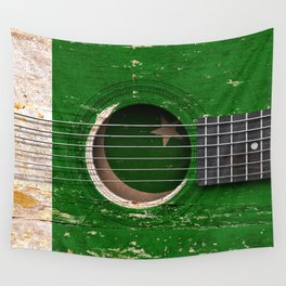 Old Vintage Acoustic Guitar with Pakistani Flag Wall Tapestry