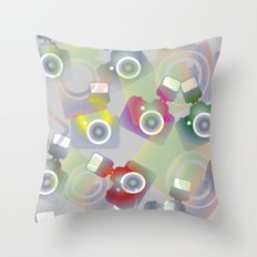 seamless pattern with cameras - background photo business Throw Pillow