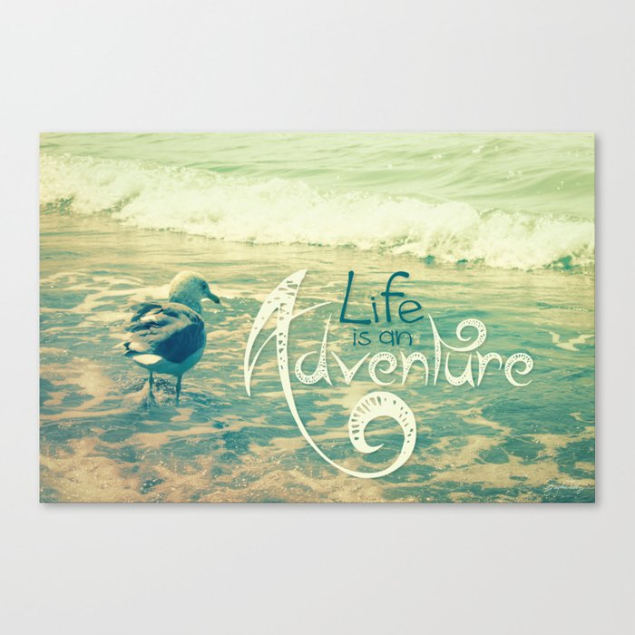 California Beach Seagull Canvas Print