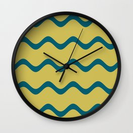 Tropical Dark Teal Simple Soft Rippled Horizontal Line Pattern Inspired by Sherwin Williams 2020 Trending Color Oceanside SW6496 on Dark Yellow Wall Clock