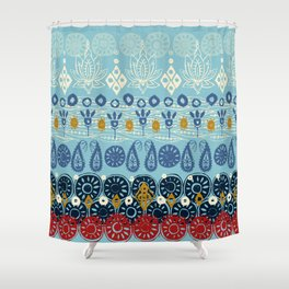 lotus block blue Shower Curtain