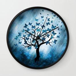 Butterfly Tree - Blue Marble Mist Wall Clock
