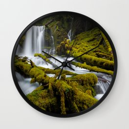 Mossy Forest Waterfall Wall Clock