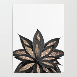 Gray Black Agave with Gold Glitter #2 #shiny #tropical #decor #art #society6 Poster